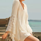 Vintage Women V-Neck Boho Flare Sleeve Hippie Boho Gypsy Lace Loose Beach Dress