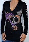 Sinful by Affliction CALAMA Woman's Long Sleeve T-Shirt - S2208 - NEW - Black