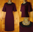 RRP £129 NEW COUNTRY CASUALS LADIES BURGUNDY BLACK VINTAGE STYLE JERSEY DRESS