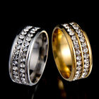 Unisex Women Men CZ Stainless Steel Gold Silver Ring Wedding Band Rings Size6-12