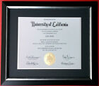 "CUSTOM MADE MATTED Black Navy Blue Silver Diploma Certificate Frame 2.25"" WIDE"