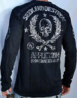 Affliction RATE OF FIRE Men's Long Sleeve Jersey Henley - A5333 - NEW - Black
