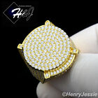 MEN 925 STERLING SILVER LAB DIAMOND ICED OUT GOLD ROUND BLING RING*GR55