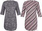 Womens New Plus Size Stripe Print Ladies Turn Up Sleeve Shape Hem Long Dress Top