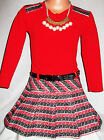 GIRLS RED BLACK BLOCK PATTERN CONTRAST WINTER PARTY DRESS with NECKLACE + BELT
