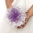 """Wedding Crystal Roses Bouquet Acrylic Beads Holding Flowers Rattan About  11.81"""""""