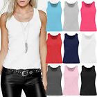 NEW LADIES SLEEVELESS RIB VEST WOMENS GYM STRETCH JERSEY LONG LOOK COTTON TOPS