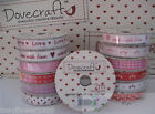 Dovecraft Creative RIBBON With Love Hearts and Kisses ONE or TWO ROLL 2mts