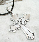 CROSS PENTAGRAM PAGAN Pewter Pendant Leather Necklace