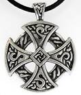 CELTIC SOLAR CROSS Silver Pewter Pendant Leather Surfer