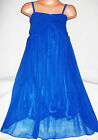 GIRLS ROYAL BLUE GRECIAN CHIFFON LONG LENGTH MAXI DRESS
