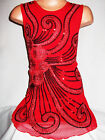 GIRLS 60s RED ORIENTAL EMBROIDERED SEQUIN EVENING SHIFT PARTY DRESS