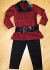 GIRLS RED & BLACK STRIPE WINTER SHIMMER KNIT TOP & LEGGING with BELT