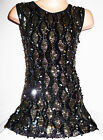 GIRLS 60s BLACK GOLD SILVER EMBROIDERED SEQUIN EVENING DANCE PARTY DRESS