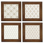 Beige Moroccan Pattern Home Decor Ceramic Framed Tile~Wall Art~Entry Table Decor