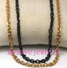 Never Fade IP Plated Gold Rose Gold Black 316L Steel Necklace O Chain 4 Faceted