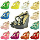 Fashion Womens High Heels Patent Platform Peep Toe Wedge Shoes Sandals Size 4-11