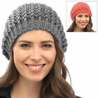 Ladies Chunky Rib Knit Beanie Hat Warm Winter Fashion Accessory Coral Or Grey