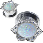 PAIR-Stainless Steel Silver Synthetic WHITE Opal-EAR GAUGES-Screw EAR PLUGS