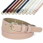 AnnaKastle Womens Goldtone Roller Buckle Faux Leather Skinny Belt