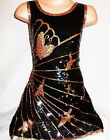 GIRLS 60s STYLE BLACK SEQUIN GOLD BUTTERFLY EVENING DISCO PARTY DRESS