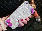 3D Gorgeous Bowknot Pearls Bling Crystal Back Cover Case For blu