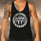 Mens Gym Spartan Black GSC Logo Racer Back Vest Muscle Fitness Top Boxing MMA