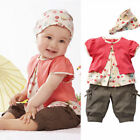 Hot Toddler Baby Infant Girls Outfits Headband + T-shirt +Pants Kids Clothes Set