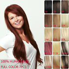 """Tengda 28"""" Full Head Clip in 100% Remy Human Hair Extensions 7pcs 120g 11 Colors"""