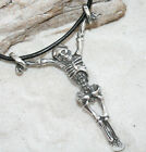 SKELETON GOTHIC Pewter Pendant Leather Necklace Surfer