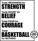 "Basketball Strength Belief Courage Trade Basketball Vinyl Wall Decal 15""x14"""