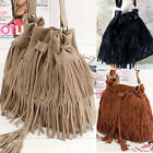 Ladies Designer Tassel Womens Tote Shoulder Bag Messenger Handbag Faux Suede