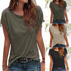 Fashion Womens Summer Loose Top Short Sleeve Tassel Blouse Casual Tops T-Shirt R