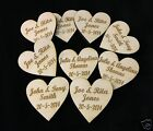 Personalised Wooden Engraved Hearts Wedding Favours Natural wood rustic