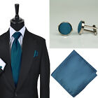 New Mens Wedding Plain Truffle Solid Colour Tie Hankie Cufflink Set