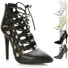 Ladies Women Cut Out Lace Up High Heel Strappy Pointed Toe Sandals Court Shoes