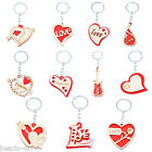 BD Fashion Red Wooden Wood Love Shaped Charm Key Ring Keychain Couples Gift