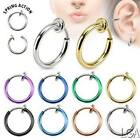 1 Fake Clip on No Piercing Ear Septum Lip Nose Hoop Ring Earring Choose Colour*