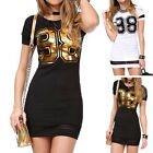 Women Summer Casual Short Sleeve Cotton 98 Printed Slim Sexy Mini Dress Plus Siz