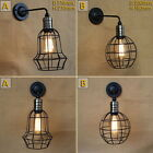 Balck Metal Ball Cage Wall Lamp Light with Long Swing Arm Home Office Sconces