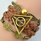 mens Deathly Hollows Owls wings charm leather Suede Wrap bracelet Gift