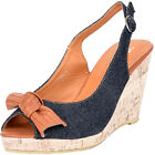 Edle DENIM Jeans BOW Kork WEDGES Keilabsatz Rockabilly