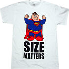 Family Guy Peter as Superman Size Matters Adult T-shirt - Griffin Family Stewie image