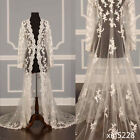 Fall Winter White Ivory Lace Cape Cloak Shawl Wedding Jacket Bridal Wrap Train