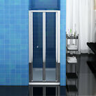 New Bifold Shower Door Enclosure Walk in Toughened Glass Cubicle Screen and Tray