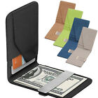 Mens Leather Silver Money Clip Slim Wallets Purse Black ID Credit Card Holder