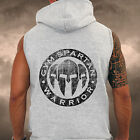 Mens Grey Gym Spartan LOGO Sleeveless Hoodie fitness Sports Military Running Top