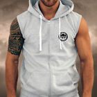 Mens PLAIN Grey Gym Spartan LOGO Sleeveless Hoodie Sports Athletics Running