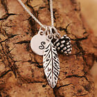 Sterling Silver Personalised Lucky Pine Cone &Leaf Pendant Necklace &Initial Tag