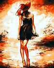 A Girl In Red Hat & Black Dress Needlepoint Canvas 472